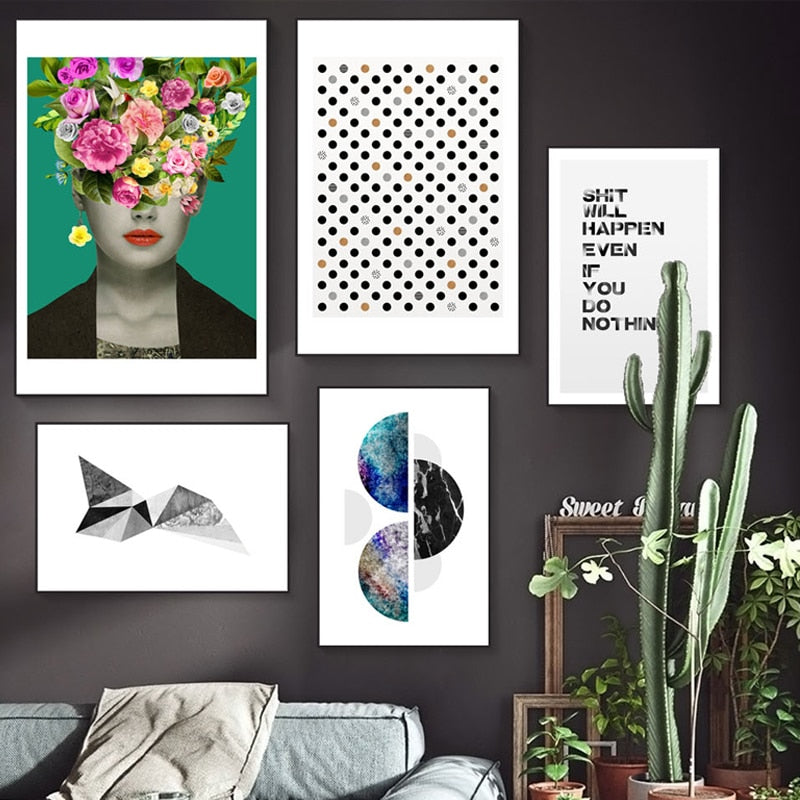 Modern Abstract Wall Art Posters Nordic Style POP Art Floral Portrait Geometric Marble Dots Art Sh*t Happens Quotation Fine Art Canvas Prints