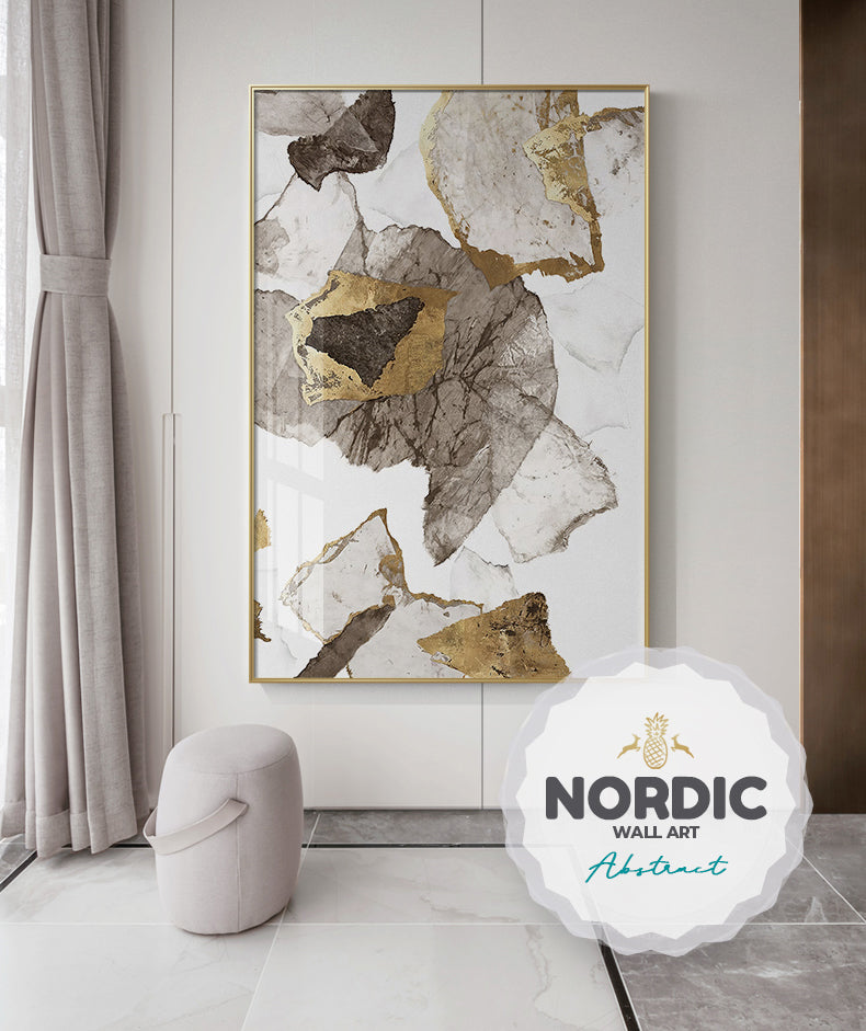 Modern Abstract Wall Art Rustic Golden Brown Upscale Painting Fine Art Canvas Prints Stylish Pictures For Living Room Dining Room Nordic Home Interior Decor