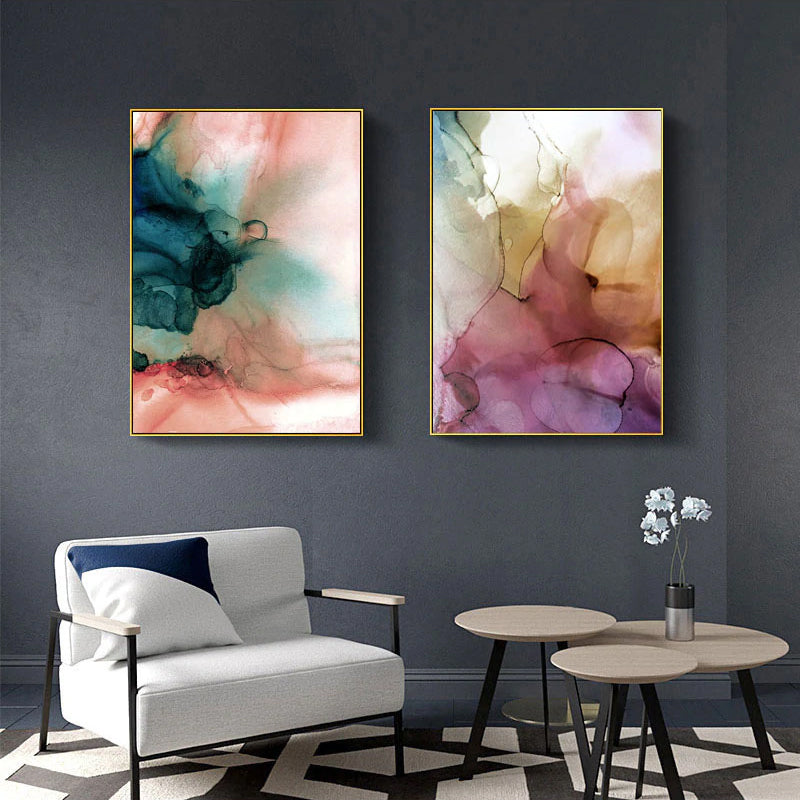 Wall Art Canvas Prints.Modern Abstract Watercolor Wall Art Organic Botanic Subdued Colors Fine Art Canvas Prints Contemporary Scandinavian Interior Design Wall Decor