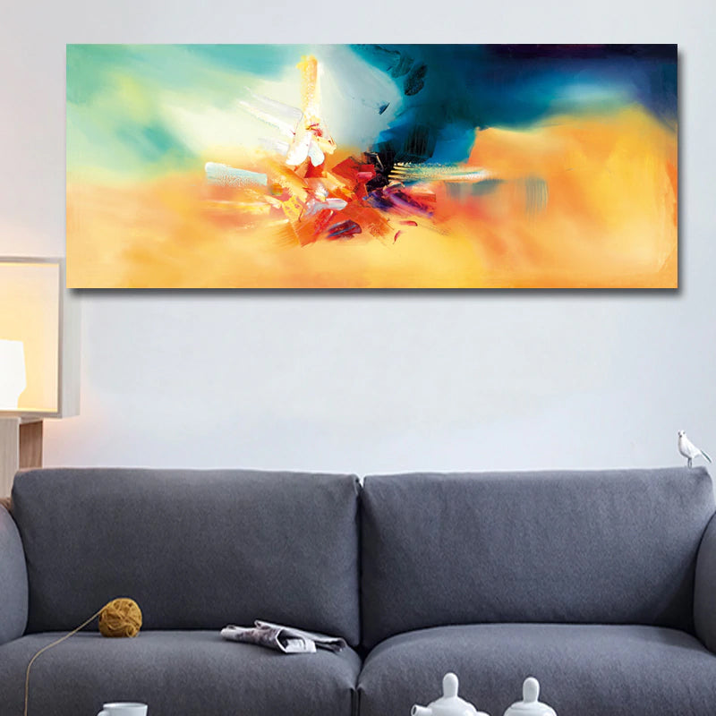 Modern Abstract Wide Format Wall Art Colorful Brush Strokes Fine Art Giclee Canvas Print Pictures For Living Room Bedroom Home Decor