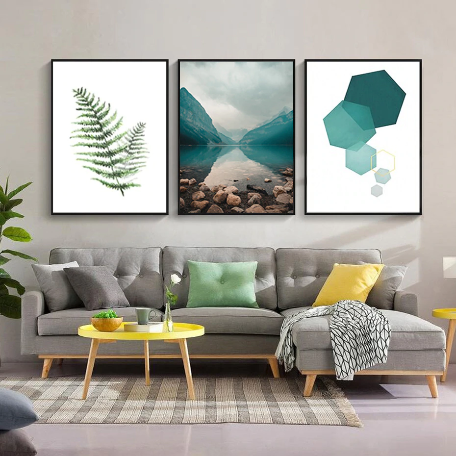 Modern Abstract Wilderness Minimalist Wall Art Nordic Nature Geometric Elements Green Fern Leaf Fine Art Canvas Prints Modern Home Decor