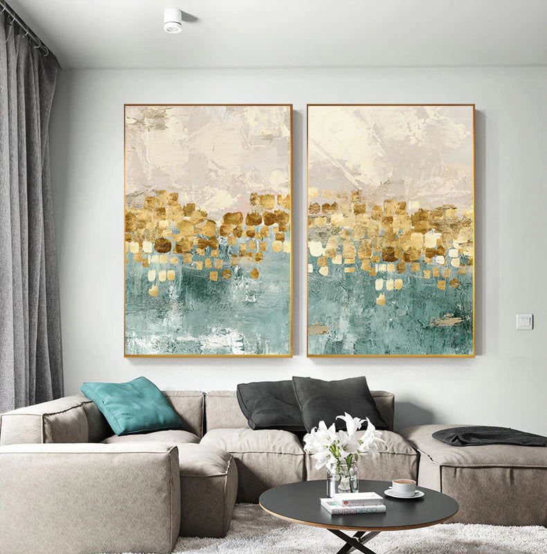 Modern Abstracts Gold Beige And Tiffany Blue Luxury Wall Art Fine Art Canvas Prints Nordic Style Contemporary Wall Art Modern Interior Decor