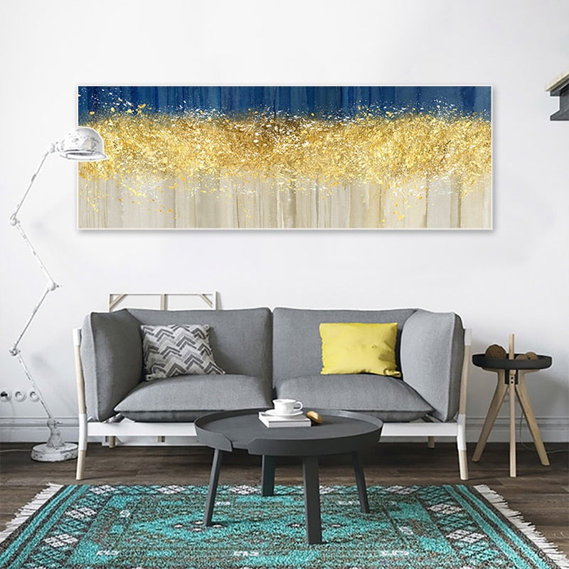 Modern Abstracts Golden Beige And Blue Wide Format Luxury Wall Art Fine Art Canvas Prints Nordic Style Picture Living Room Dining Room Home Office Decor