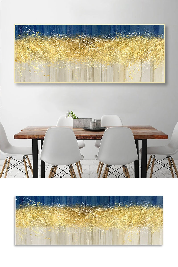 Modern Abstract Golden Beige And Blue Wide Format Luxury Wall Art Fine Art Canvas Prints Nordic Style Picture Living Room Dining Room Home Office Decor