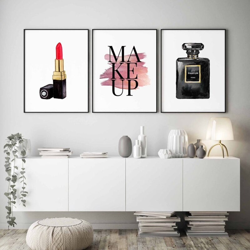 Modern Beauty Wall Art Posters Makeup Lipstick Lashes And Perfume Stylish Minimalist Nordic Style Salon Wall Art Fine Art Canvas Prints Bedroom Wall Decor
