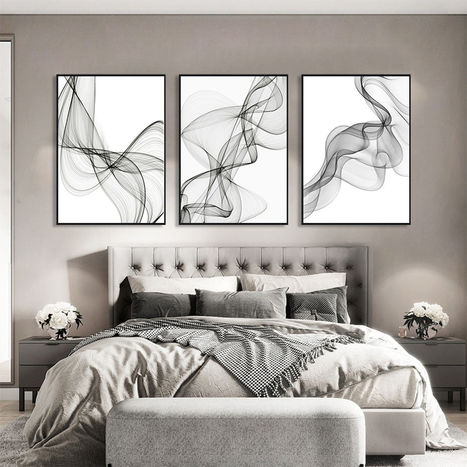 Modern Black And White Abstract Wall Art Fine Art Canvas Prints Minimalist Wavy Lines Pictures For Living Room Loft Apartment Home Office Interior Decor