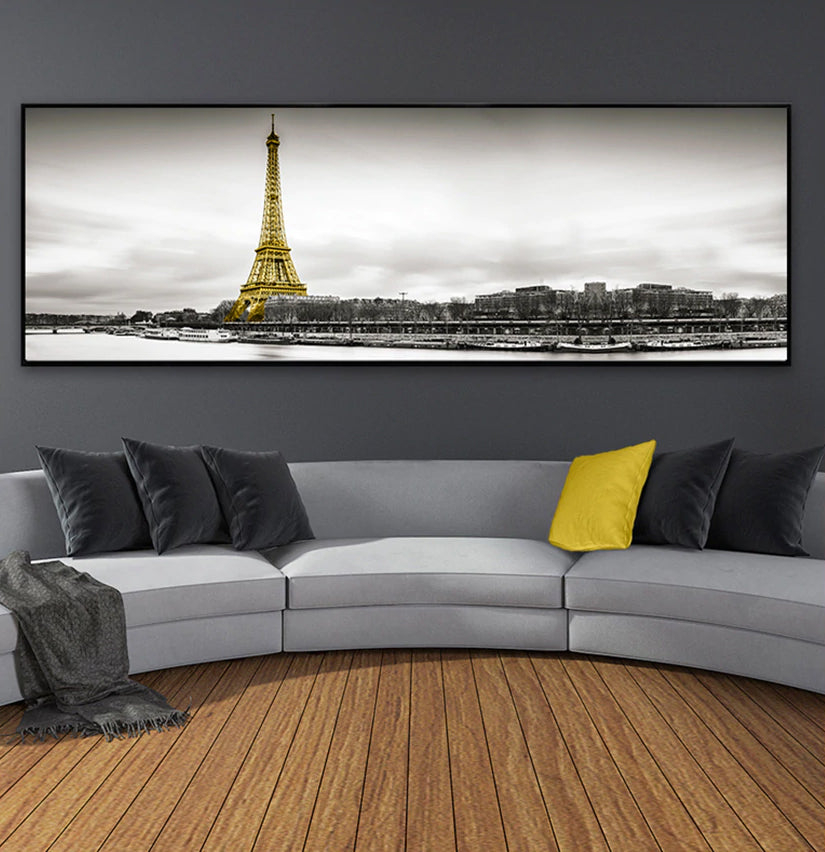 Modern Black White Landscape Abstract Wall Art Pictures Of Eiffel Tower River Seine And Panoramic Paris Skyline Nordic Fine Art Canvas Prints