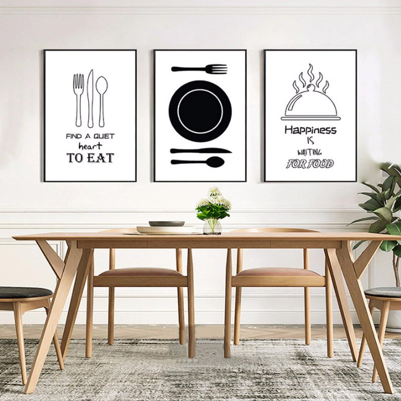 Modern Black and White Art Posters For Dining Room Canvas Art Paintings  Minimalist Nordic Posters For Cafe or Kitchen Home Decoration