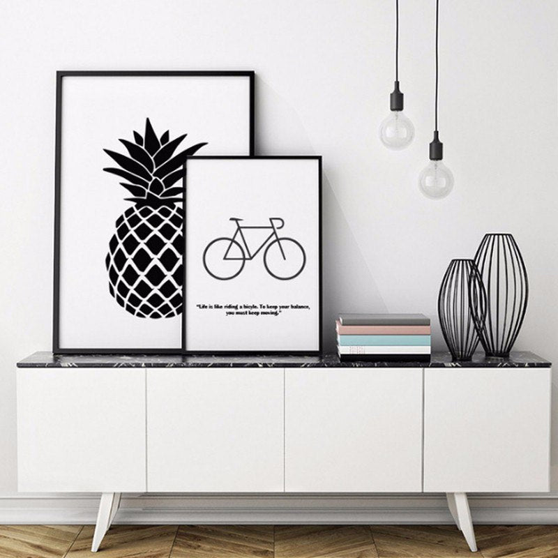 Simple and Inspiring Modern Black and White Minimalist Nordic Canvas Wall Art Posters Pictures For Living Room Dining Room Decor