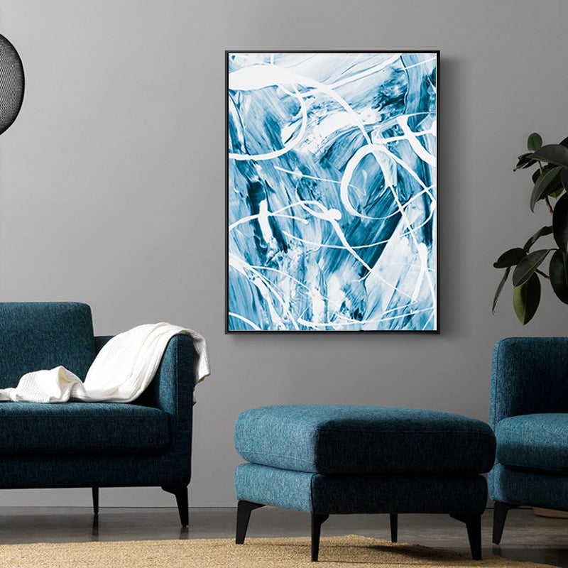 Modern Blue Paint Splash Poster Abstract Wall Art White Blue Home Decor Canvas Print Painting For Kitchen Bathroom Modern Home Decoration