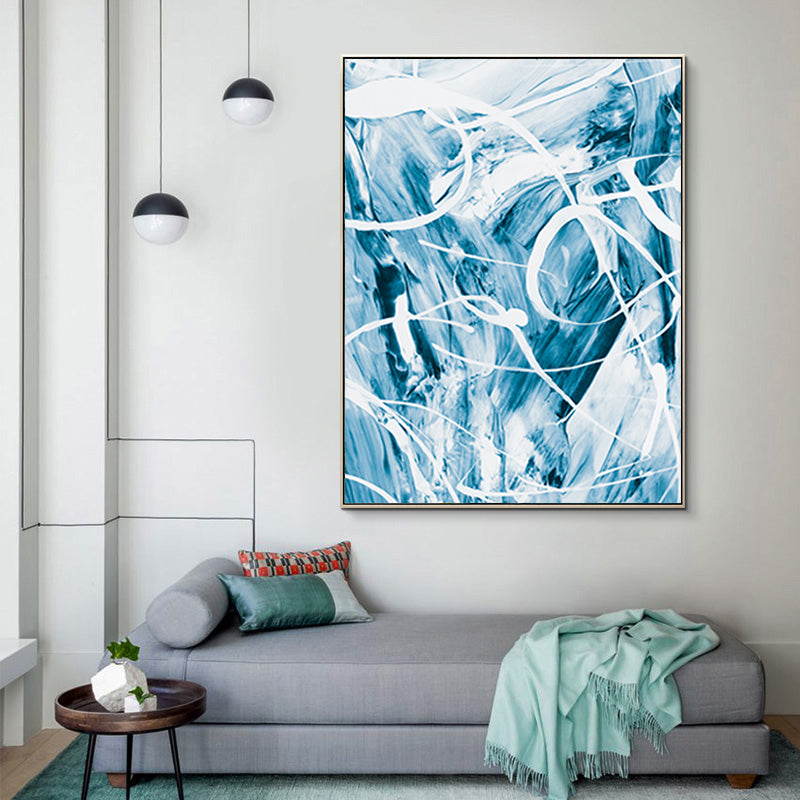 Modern Blue Paint Splash Poster Abstract Wall Art White ...