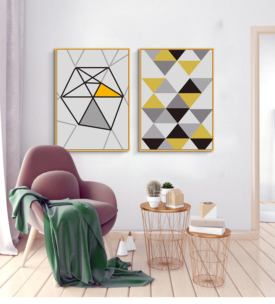 Modern Bright Geometric Wall Art Nordic Minimalist Quotations Fine Art Canvas Prints Posters For Office Interior Living Room Bedroom Pictures Home Interior Styling