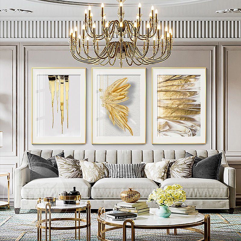 Modern Chic Abstract Wall Art Fine Art Canvas Prints White Golden Feather Liquid Marble Minimalist Pictures Luxury Living Room Bedroom Boutique Art Decor