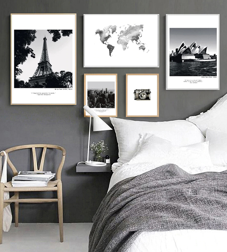 Modern City Landscapes & Travel Themed Black & White Canvas Paintings  Nordic Wall Art Paintings For Living Room Home Office Decor