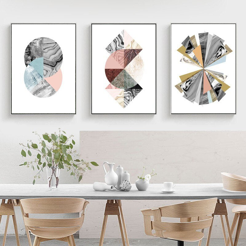 Modern Colorful Abstract Nordic Style Fine Art Canvas Prints Geometrical Marble Design Wall Art For Living Room Dining Room Home Interior Decor