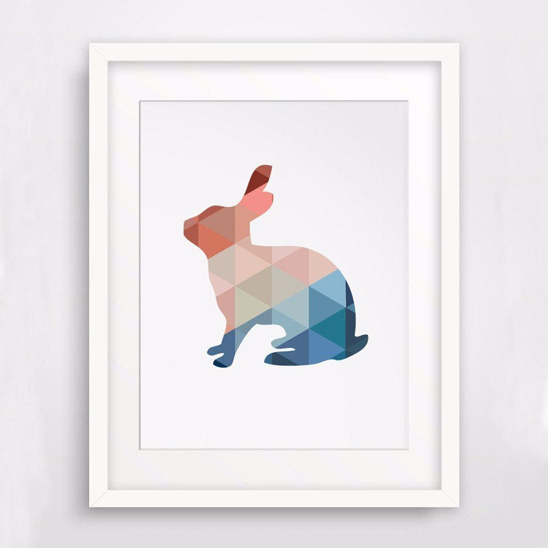 Modern Colorful Abstract Triangles Geometric Animal Art Rabbit Poster Canvas Print Painting for Kids Nursery Room