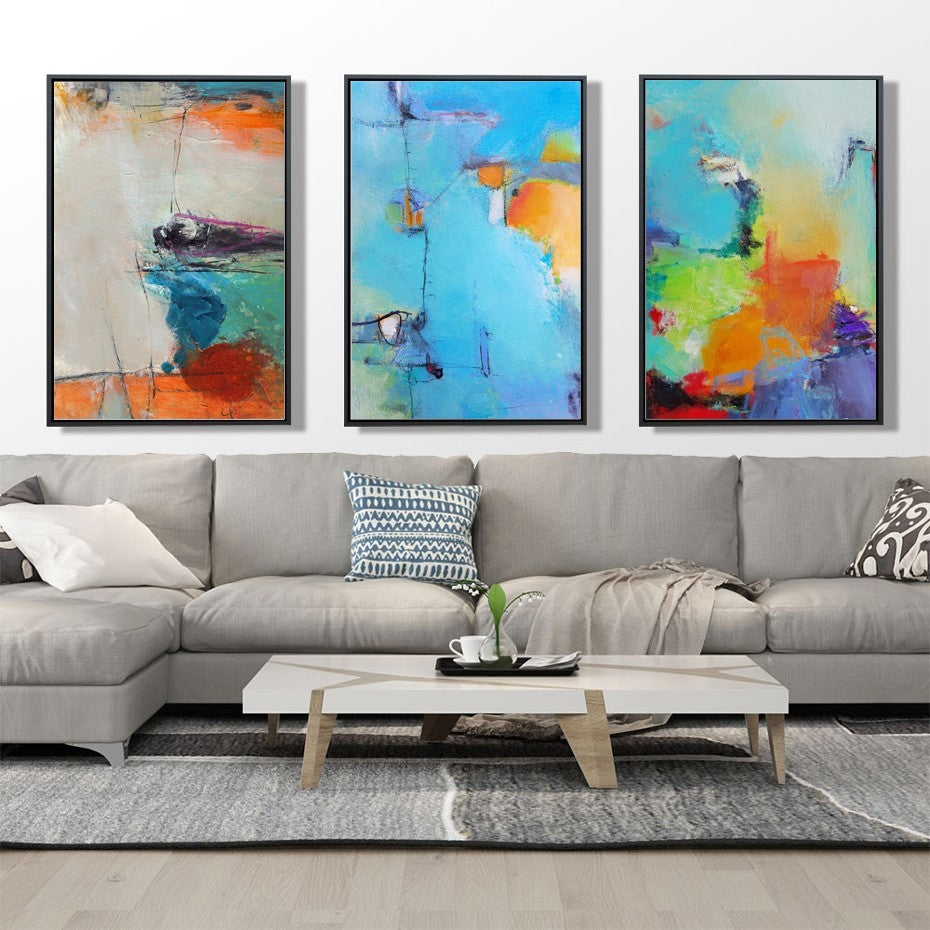 Modern Colorful Bold Textured Abstracts Wall Art Fine Art Canvas Prints Art For Modern Office Wall Decor Pictures For Living Room Decoration
