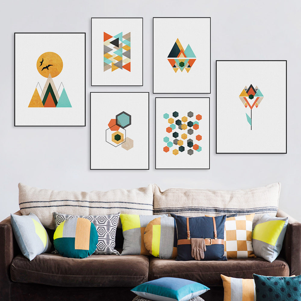 Modern Colorful Scandinavian Abstract Nordic Wall Art Fine Art Canvas Mountains Sunrise Geometric Shapes Modern Minimalist Pictures For Modern Home Decor