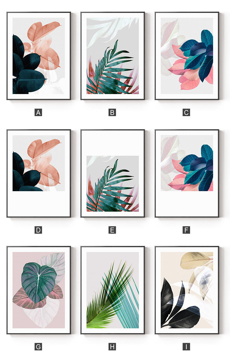Modern Colorful Tropical Leaves Wall Art Fine Art Canvas Prints Nordic Style Pictures For Hotel Office Salon Home Living Room Interior Decor