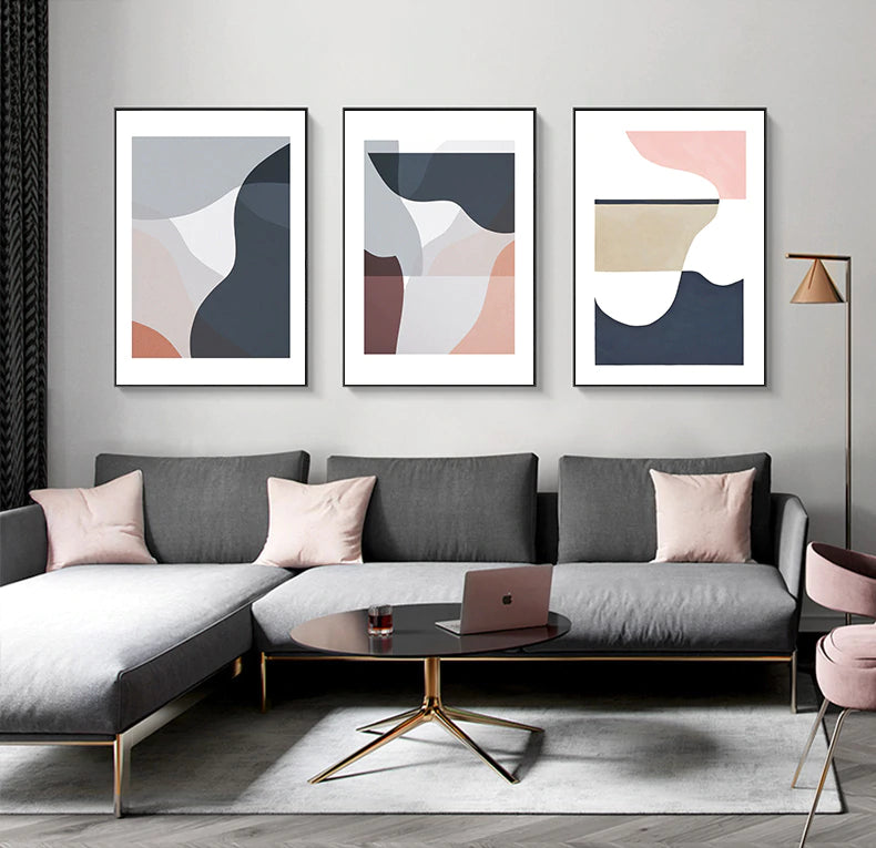 Modern Contemporary Abstract Nordic Wall Art Curved Elements Subdued Colors Warm Hues Fine Art Canvas Prints For Modern Home Office Decor