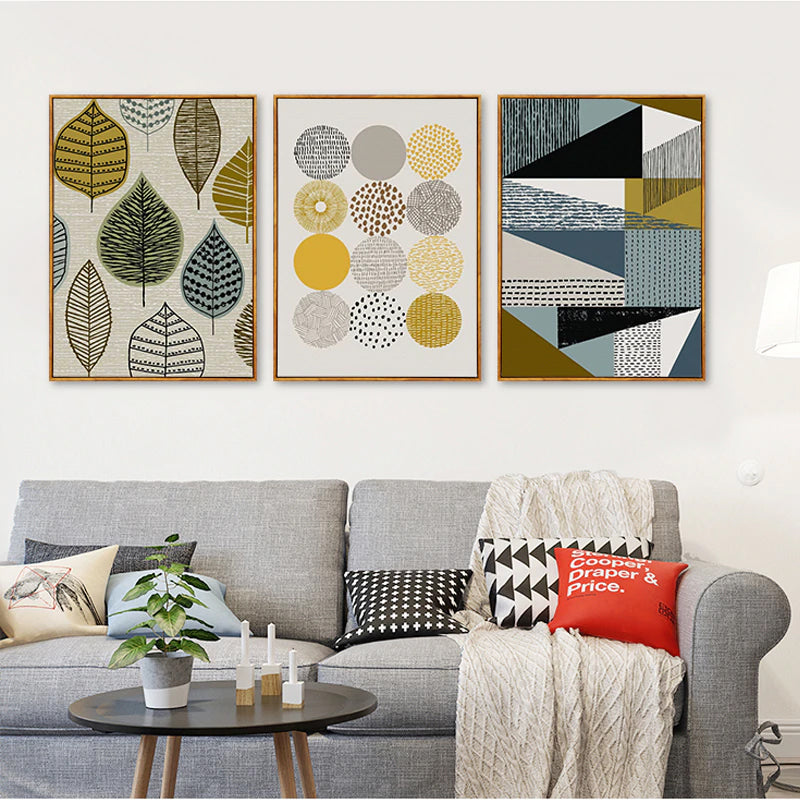 Modern Design Abstract Nordic Canvas Wall Art Posters Attractive Geometric Design Warm Color Scheme For Modern Home Decor