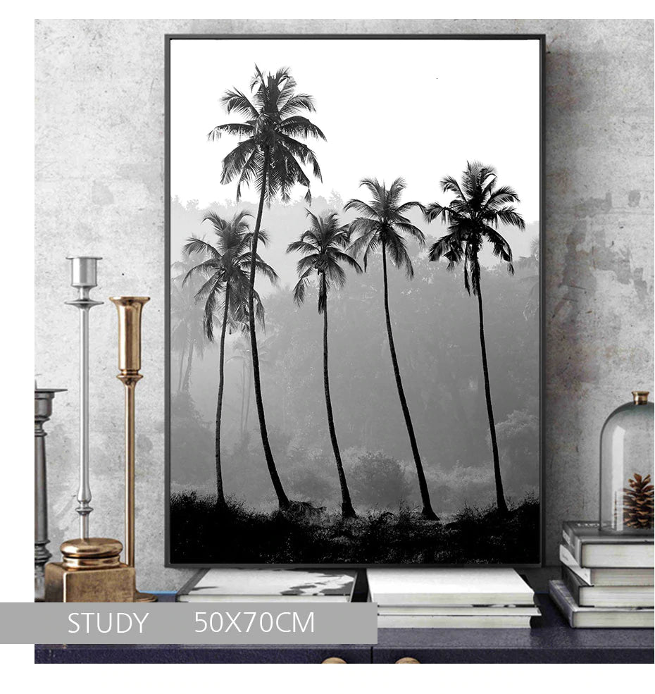 Modern Fashion Black And White Gallery Wall Art Tropical Palm Trees Simple Breathe Quotation Sunglasses Fashion Fine Art Canvas Prints