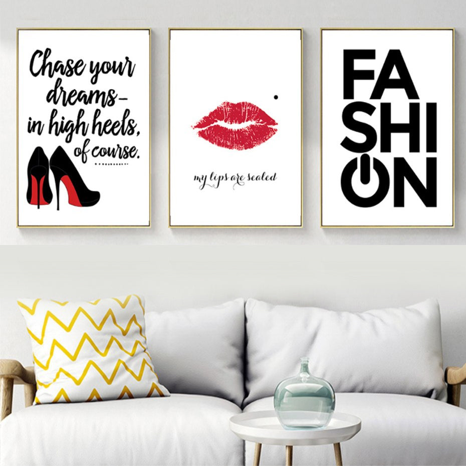 Modern Fashion Posters Red Lipstick & Heels My Lips Are Sealed Abstract Canvas Prints Salon Art Paintings For Boutiques and Girls Bedroom Decor
