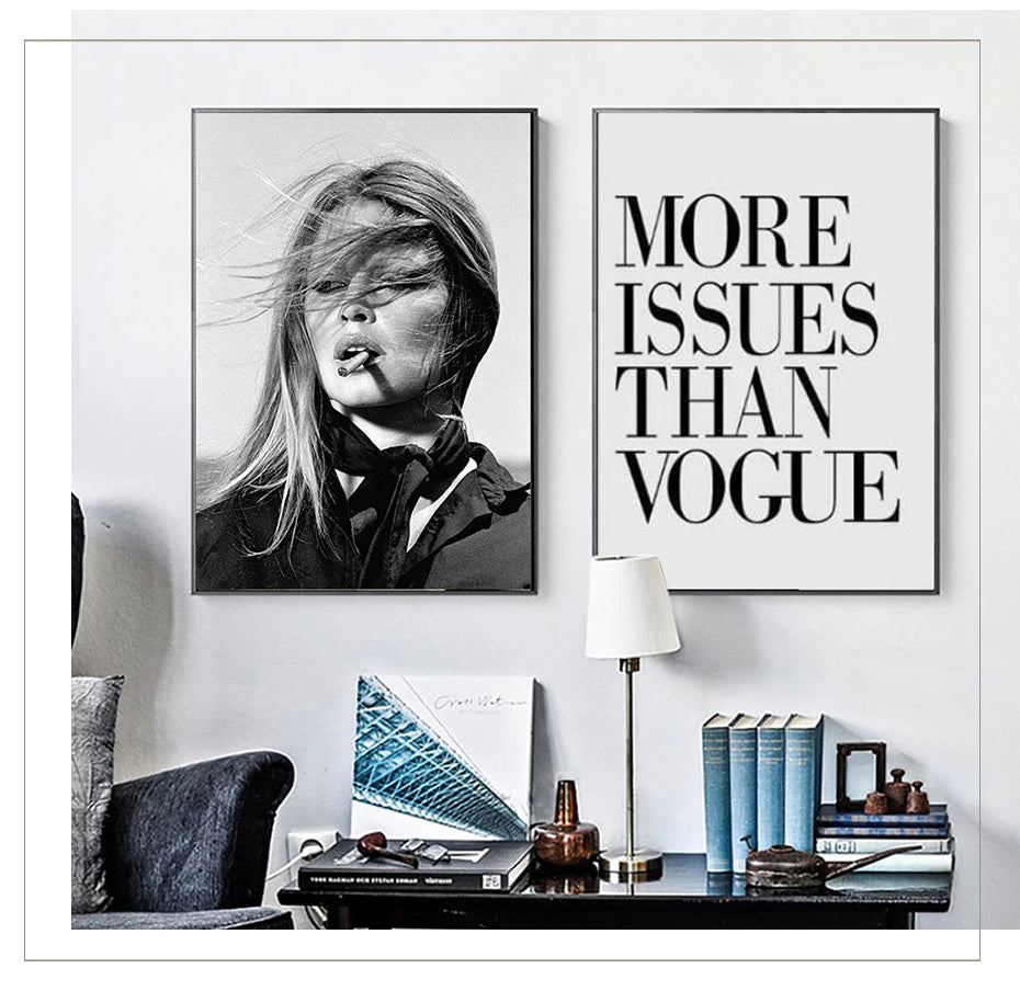 Modern Fashion Retro Vogue Wall Art Black & White Nordic Style Salon Art Fine Art Canvas Prints For Modern Boutique Home Interior Decoration