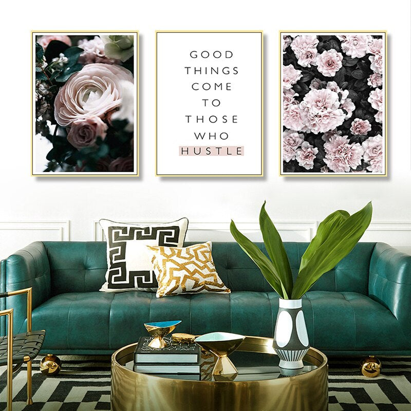 Modern Floral Landscape Nordic Style Gallery Wall Art Good Things Come To Those Who Hustle Simple Life Quotation Fine Art Canvas Prints