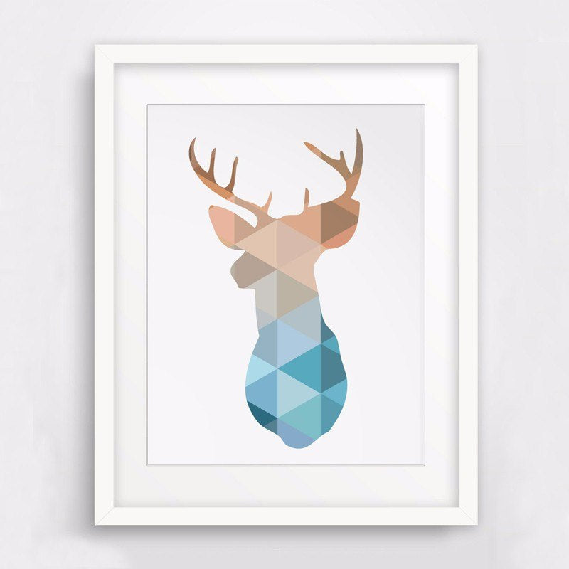 Modern Geometric Deer Head Painting Canvas Poster Abstract Nordic Wall Art Animal Print Pictures for Kids Room Home Decor