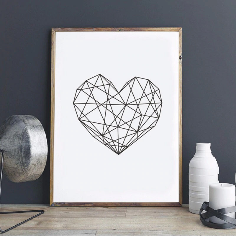 Modern Geometric Love Heart Theme Canvas Wall Art Poster Giclee Prints Paintings For Home Nursery or Office Home Decor