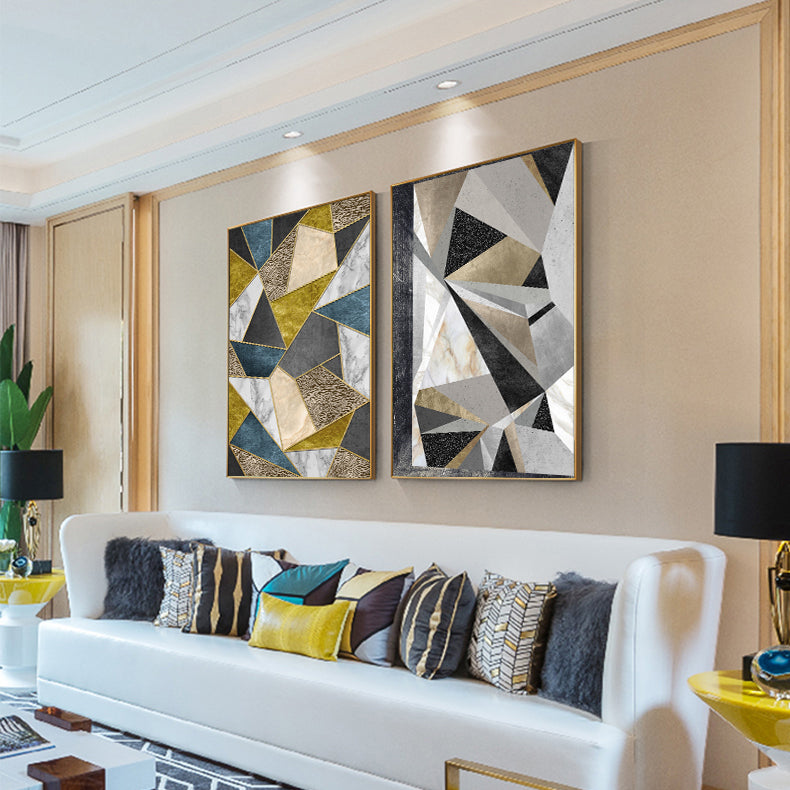 Modern Geometric Wall Art Fine Art Canvas Prints Stylish Abstract Pictures For Luxury Loft Living Room Dining Room For Home Office Interior Decor