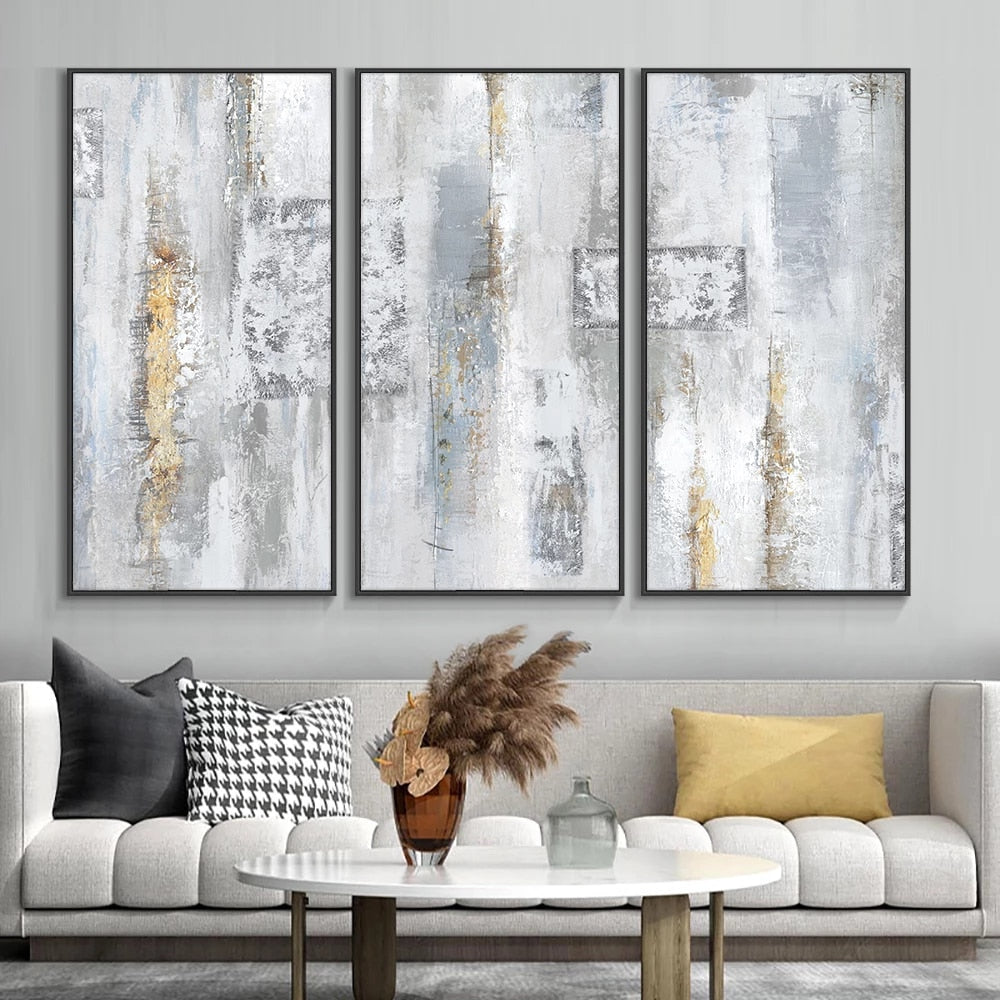 Modern Gray Minimalist Abstract Wall Art Fine Art Canvas Print Contemporary Design Stylish Pictures For Living Room Loft Apartment Home Office Art Decor