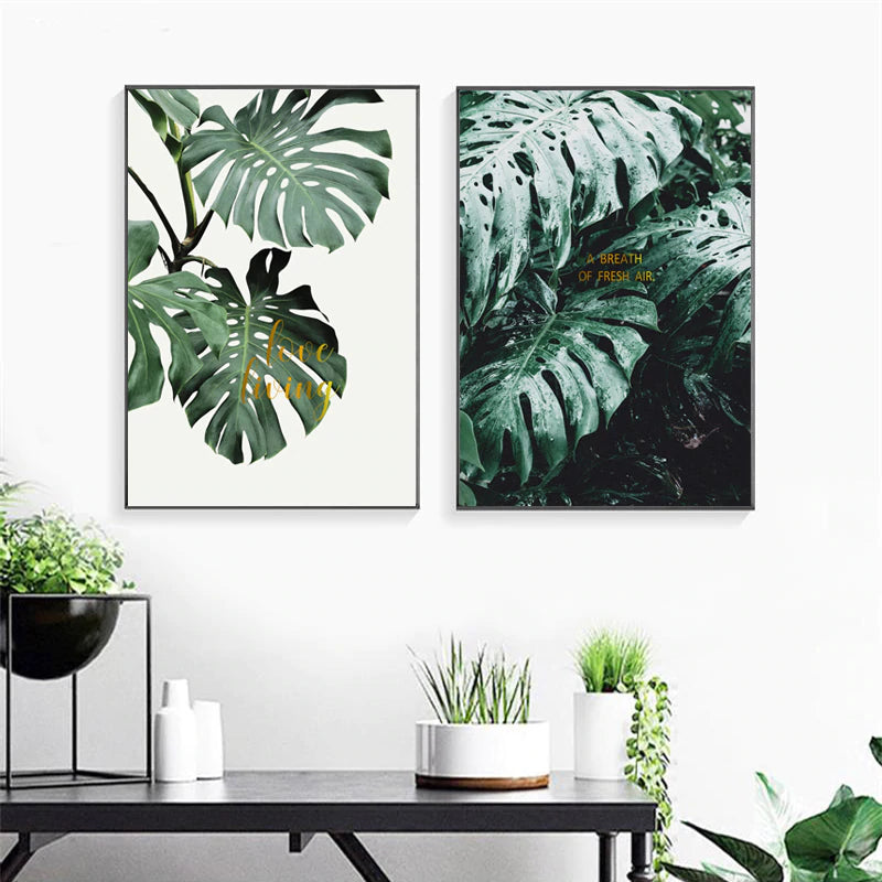 Modern Green Turtle Leaves Love Poetry Nordic Wall Art Prints Canvas Paintings Gift Poster Pictures for Living Room Home Decor