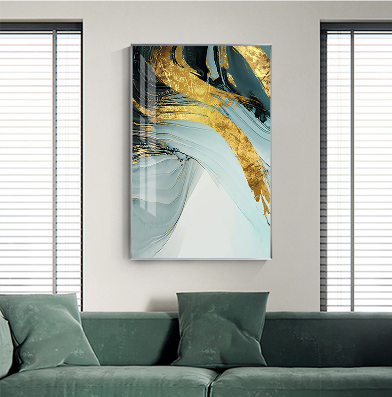 Modern Luxury Abstract Wall Art Golden Blue Jade Fine Art Canvas Prints Luxury Pictures For Office Living Room or Bedroom Decor