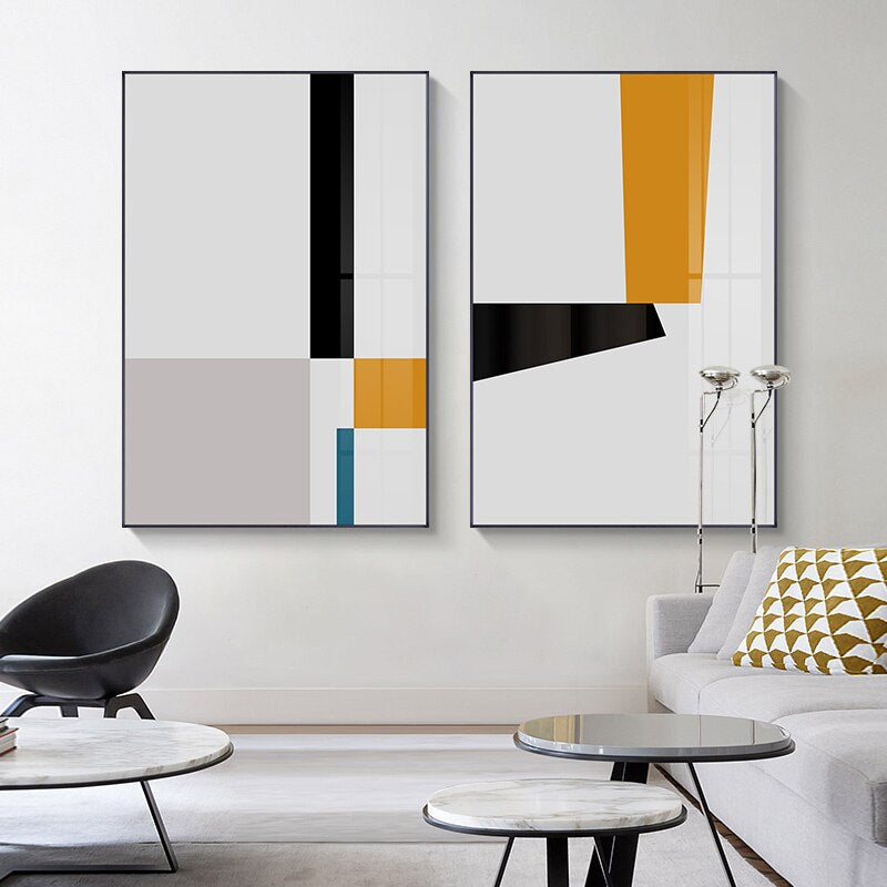 Modern Minimalist Artistic Abstract Wall Art Nordic Style Fine Art Canvas Prints Yellow Black Blue Geometric Design Scandinavian Wall Decor