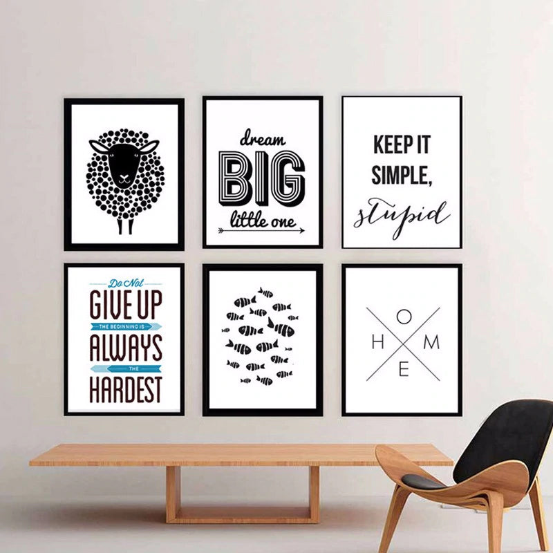 Modern Minimalist Black And White Quotations Posters Canvas Wall Art Nordic Prints Abstract Paintings for Living Room Home Decor