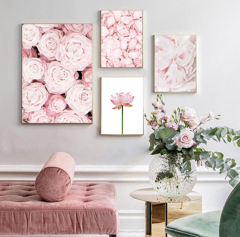Modern Minimalist Floral Pink Wall Art Fine Art Canvas Prints Nordic Style Botanical Pictures For Scandinavian Design Bedroom Living Room Girls Room Wall Decor