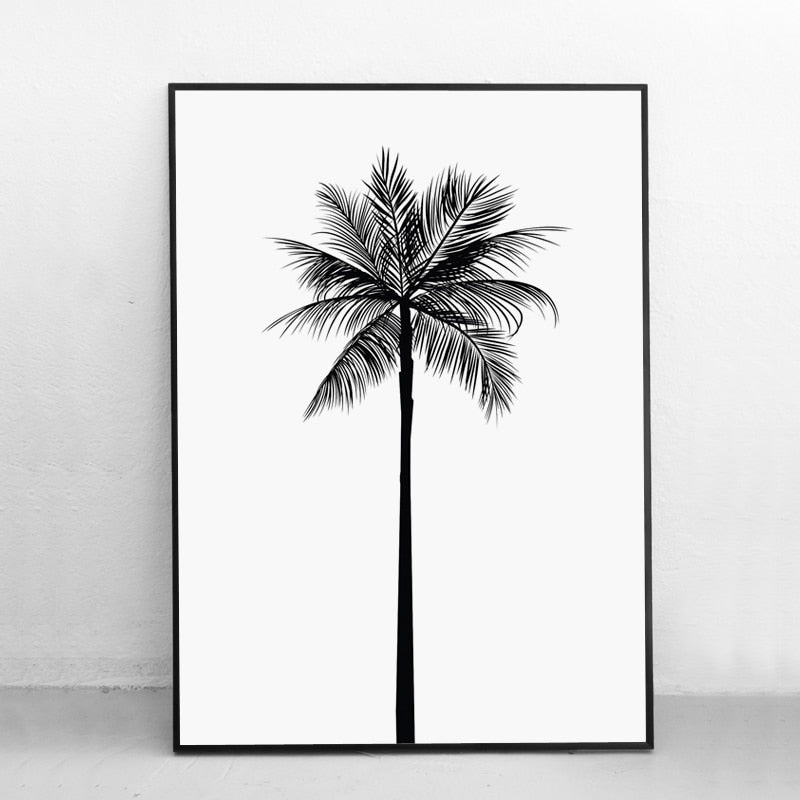 Modern Minimalist Pink Flamingo And Palm Tree Tropical Wall Art Nordic Style Fine Art Canvas Prints For Modern Office Home Interior Decoration