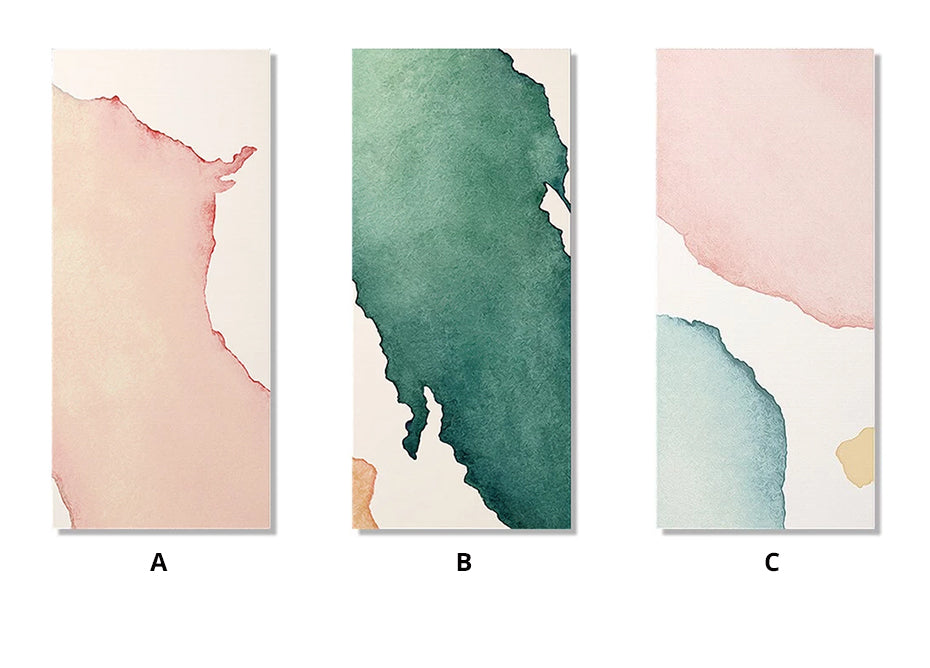 Modern Minimalist Watercolor Abstract Column Print Wall Art Pink Blue Green Beige Fine Art Canvas Prints For Hallway Living Room Home Decor