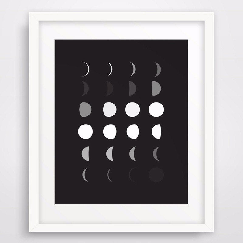 Modern Moon Phase Canvas Painting Print Poster Black and White Wall Art Pictures Oil Painting Kids Room Decoration No Frame