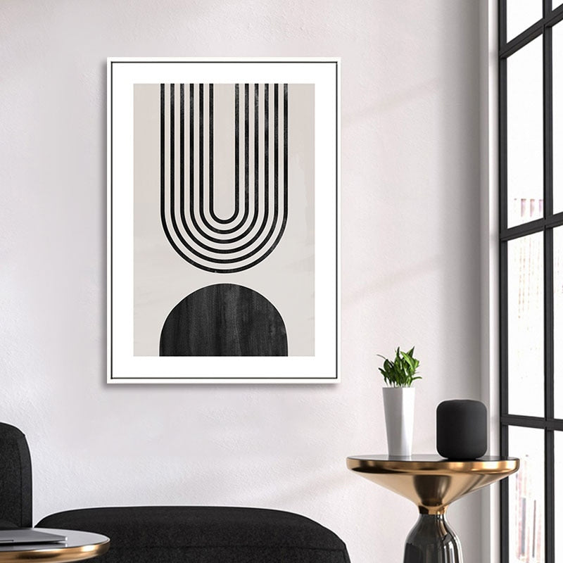 Modern Neutral Colors Nordic Abstract Wall Art Fine Art Canvas Prints Minimalist Geometric Pictures For Contemporary Living Room Home Office Art Decor