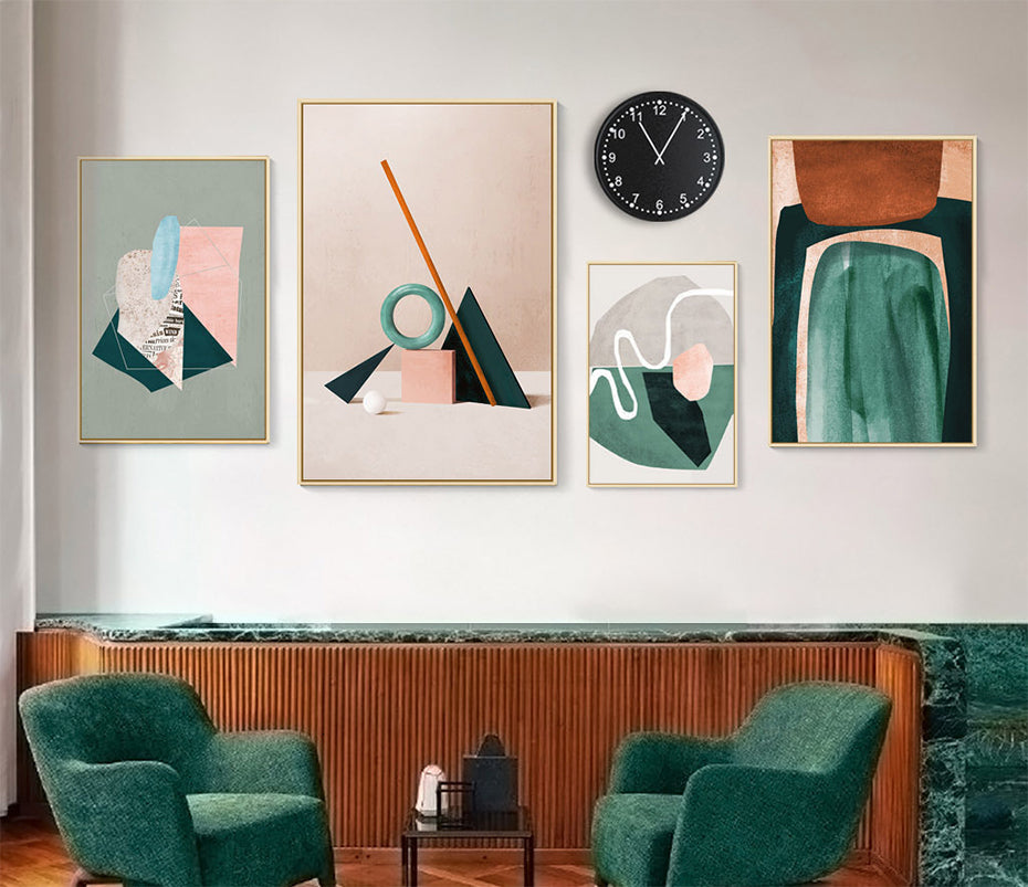 Modern Nordic Abstract Still Life Wall Art Fine Art Canvas Prints Subdued Colors Vintage Retro Collage Gallery Wall Art For Living Room Decor