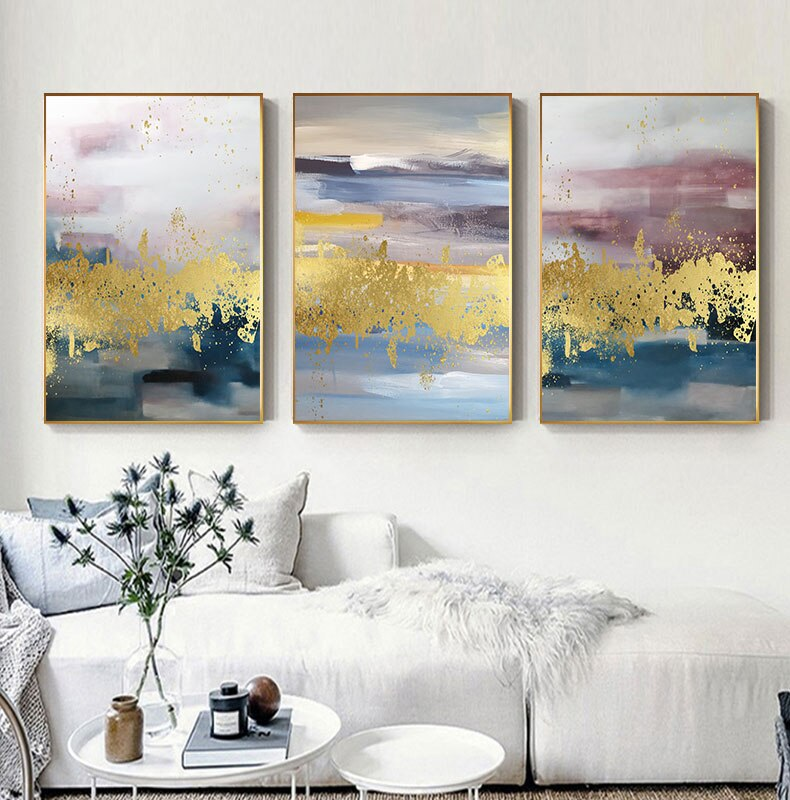 Modern Nordic Abstract Wall Art Luxury Golden Blue Green Pink Fine Art Canvas Prints Luxury Pictures For Living Room Bedroom Decor
