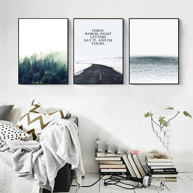 Modern Nordic Art Prints Forest Beach Love Nature Peaceful Themes Fine Art Giclee Canvas Wall Prints For Living Room Home Decoration