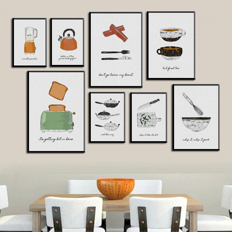 Modern Nordic Cafe Art Culinary Paintings For Restaurant or Kitchen Bakery Cooking Wall Art Canvas Prints For Modern Home or Cafe Decor