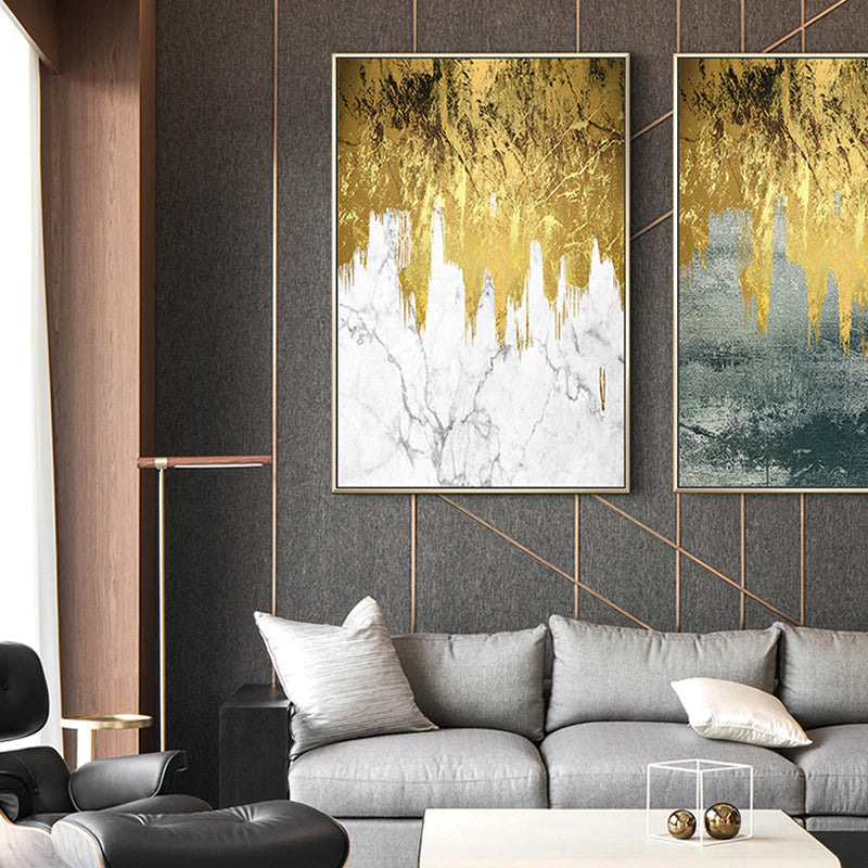 Modern Nordic Gold Abstract Urban Loft Wall Art Fine Art Canvas Prints Contemporary Pictures For Living Room Bedroom Luxury Home Office Interior Decor