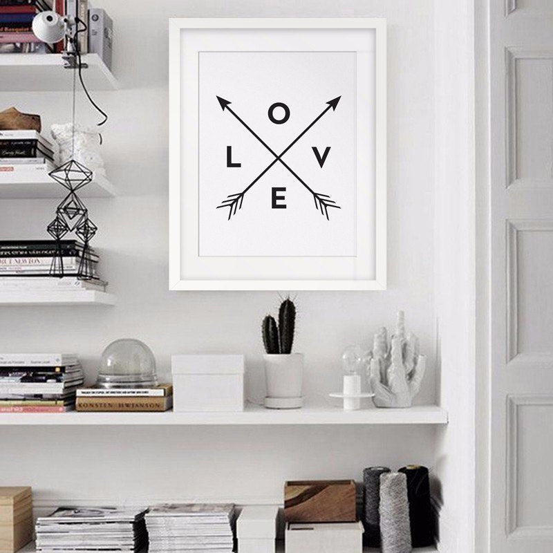 Modern Nordic Love Art Minimalist Wall Art Poster Black and White Love Arrows Word Art Modern Canvas Painting For Bedroom Home Decor