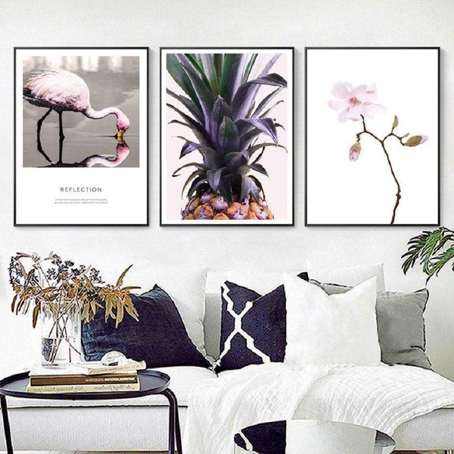 Modern Nordic Minimlist Stylish Wall Art Posters Pineapple Floral Flamingo Reflections Themed Quotation Posters For Modern Living Room Decor