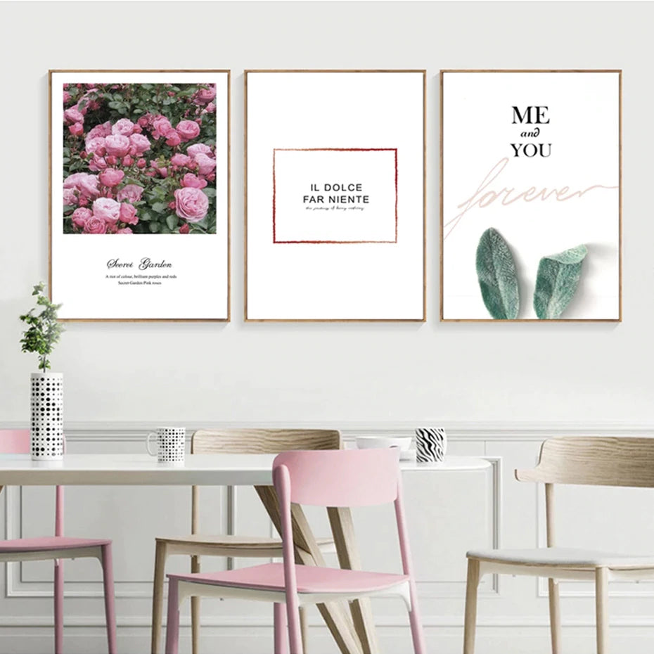 Modern Nordic Serene Romance Floral Rose Me and You Love Quotations Posters Fine Art Canvas Prints For Bedroom Living Room Home Decor